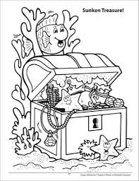 Sunken Treasure Chest Coloring Page Crafts Pinterest Treasure
