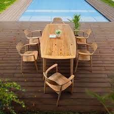 7 pc mid century modern outdoor teak