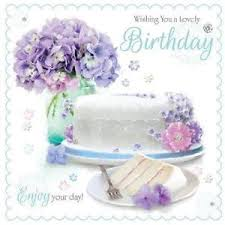 A Lovely Birthday Cake Slice Lilac Flowers Design Female Happy