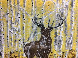 saatchi art artist e art painting aspen trees and deer art