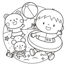 夏のイメージ海のイラストぬりえ 子供と動物のイラスト屋さん
