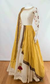 White Designer Outfits Off White And Mustard Color In 2019 Dresses Indian
