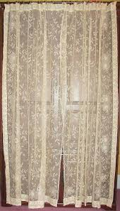 vintage lace curtain panels improbable curtains antique art deco net fl leaf ds home ideas 39