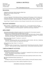 Sample Resume For College Student College Resume Format For High School Students College Student