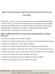 Executive Assistant Resume Templates Custom Top 48 Construction Administrative Assistant Resume Samples