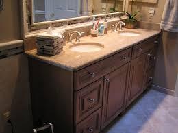 Bathroom Brown Wooden Bathroom Double Vanity With Brown Glossy Top