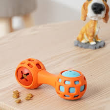 rubber iq treat squeaky dumbbell dog toy