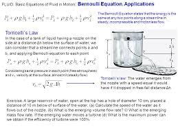 basic equations of fluid in motion bernoulli equation