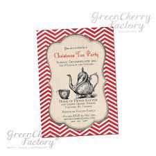 Christmas Tea Party Invitations Printable Christmas Tea Party Invitation Red Chevron