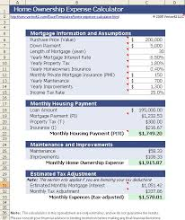 Monthly Expenses Calculator Download The Home Ownership Expense Calculator From Vertex42 Com