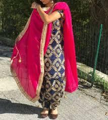 Punjabi Suit Stitching Designs Beautiful Blue Punjabi Salwar Suit Semi Stitched