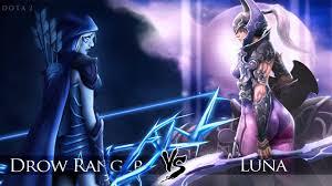 dota 2 luna vs drow ranger one click battle rematch youtube