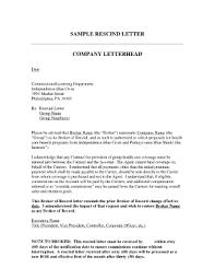 rescind letter fillable online sample rescind letter company letterhead fax email