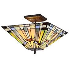 stained glass ceiling light. Chloe Lighting Kinsey 2-Light Tiffany Style Mission Semi Flush Ceiling Fixture With Stained Glass Light