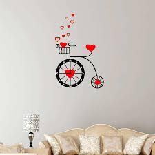 cute heart bike wall clock sticker home decor wall decals