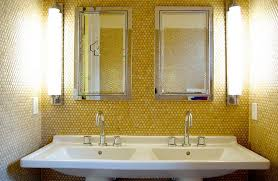 Penny Tiles In Lovely Yellow Give The Bathroom A Unique Look