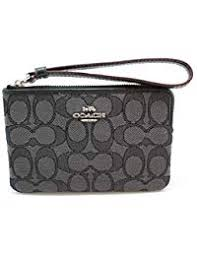 Outline Signature Corner Zip Wristlet F58033 Black Smoke Black