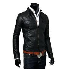 faux jacket mens biker style slim fit black leather zara