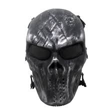 army fans cacique skeleton mask full face skull mask guard cosplay field equipment silver black jester masks jeweled masquerade masks from meinuo005
