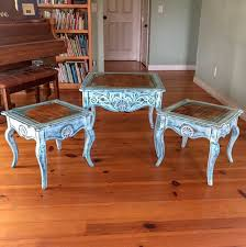 french country boho side tables 3 piece