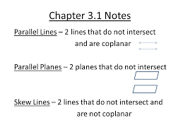 parallel planes. 1 chapter 3.1 notes parallel lines \u2013 2 that do not intersect and are coplanar planes skew b