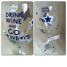 dallas cowboys wine glass drink by createbeautywithlove on 20 00