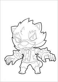 The brawler wears a uniform with ruffs toy icons, a headdress, and a ball of thread. Brawl Stars Coloring Page Werewolf Leon Coloringbay