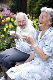 Two old women sitting on a bench in the park drinking coffee Stock Photo -  1672753 | StockUnlimited