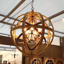 round wood and metal chandelier wooden orb chandelier metal orb detail and crystal