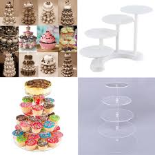 details about diy 3 5 tier acrylic round cupcake stand wedding birthday display cake tower
