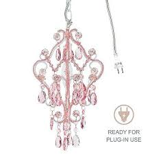 1 light mini pink crystal chandelier small plug in swag girls room fixture lamp