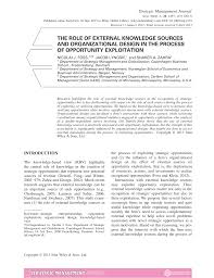 Organizational Design For Knowledge Management The Role Of External Knowledge Sources And Organizational