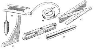 Инструменты для кирпичной кладки Зелёный дом Контрольно измерительные инструменты а отвес б рулетка в складной