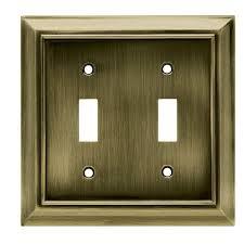 antique switch plates. Simple Antique Hampton Bay Architectural Decorative Double Switch Plate Antique Brass Inside Plates E
