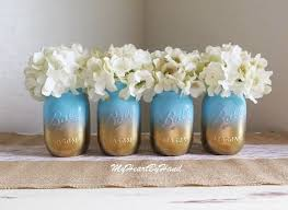 Ball Jar Decorations Baby Shower Mason Jar Set Ombre Mason Jars Baby Blue and Gold 21