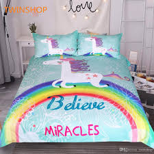 bedding unicorn bedding set believe miracles cartoon single bed duvet cover animal for kids girls rainbow bedspreads teenage bedding girl bedding sets