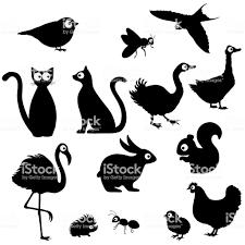 かわいい漫画の動物のシルエット イラストレーションのベクターアート