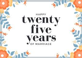 Orange Flowers 25th Wedding Anniversary Card Templates By Canva