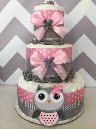 Owl Baby Shower Diaper Cake In Pink And GreyOwl BabyOwl Baby Shower Cakes For A Girl
