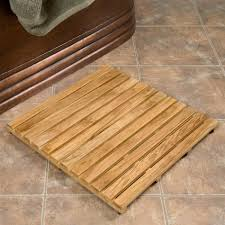 image of square teak bath mat