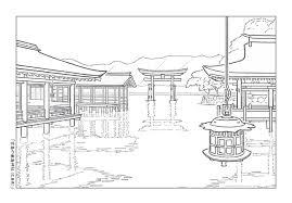 プリント配付okぬりえ桜宮島の厳島神社みんなの教育技術