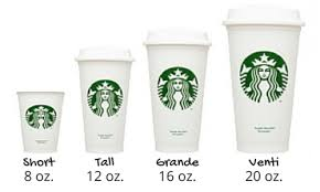 Starbucks Cup Size Chart Standard Coffee Cup Sizes In Oz And Ml