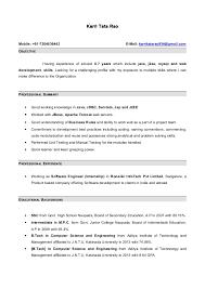 Sample Resume Java Developer 1 Year Experience Resume Ixiplay Free