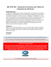 Mil Std 105 Sampling Procedures And Tables For Inspection By
