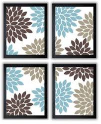 brown and blue bathroom accessories. Blue And Brown Wall Decor Flower Print Beige Chrysanthemum Flowers Set Of 4 Square Bathroom Accessories F
