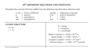 the ap chemistry equation sheet how to and how not to use it
