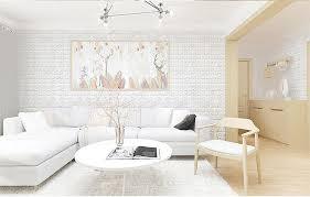 new pe foam 3d wallpaper diy wall stickers wall decor embossed brick stone white intl