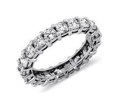 cushion cut diamond eternity ring in platinum 3 ct tw blue nile
