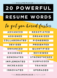 Resume Power Words Free Resume Tips Resume Template Resume