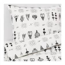 ikea sissela twin duvet cover pillowcase set white gray fl botanical